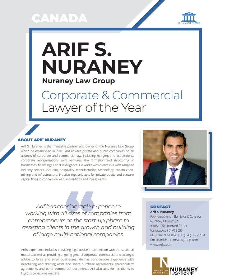 Corporate & Commercial Lawyer of the Year Canada 2020